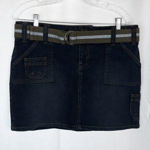 Old Navy Stretch Denim Cargo Style Skirt w/ Belt
